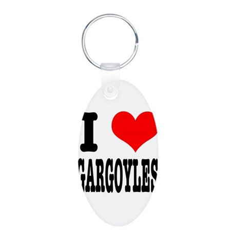 I Heart (Love) Gargoyles Aluminum Oval Keychain