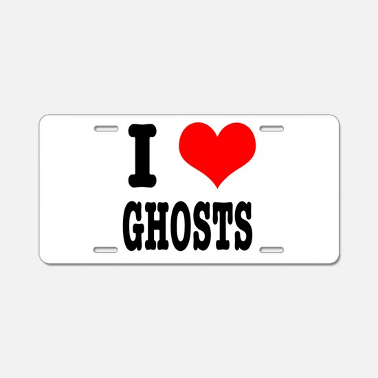 I Heart (Love) Ghosts Aluminum License Plate