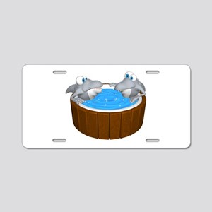 Sharks in a Hot Tub Aluminum License Plate