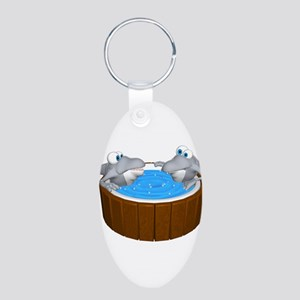 Sharks in a Hot Tub Aluminum Oval Keychain