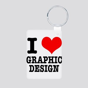 I Heart (Love) Graphic Design Aluminum Photo Keych