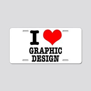 I Heart (Love) Graphic Design Aluminum License Pla