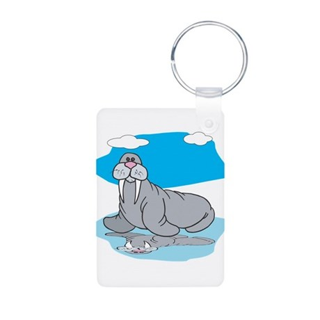 Cute Grey Walrus Aluminum Photo Keychain