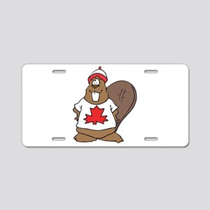Goofy Canadian Beaver in Shir Aluminum License Pla