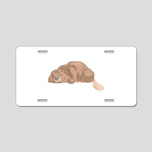 Sleeping Beaver Aluminum License Plate