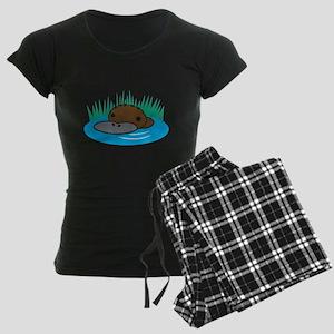 Silly Platypus in the Water Women's Dark Pajamas