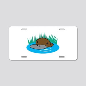 Silly Platypus in the Water Aluminum License Plate