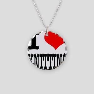 I Heart (Love) Knitting Necklace Circle Charm