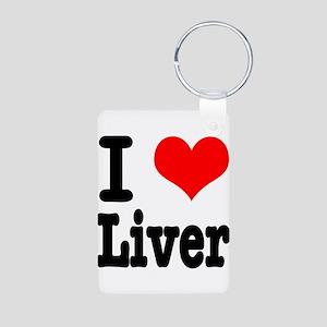 I Heart (Love) Liver Aluminum Photo Keychain