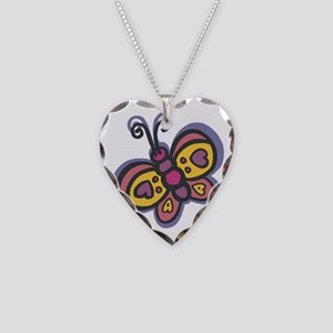 Cute Butterfly Necklace Heart Charm