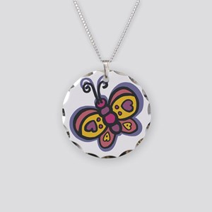 Cute Butterfly Necklace Circle Charm