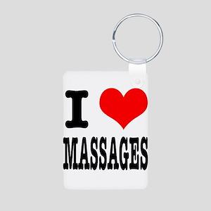 I Heart (Love) Massages Aluminum Photo Keychain