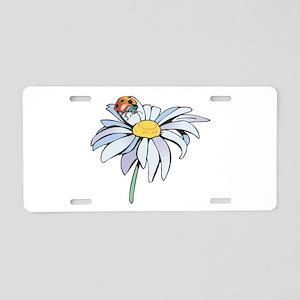 Ladybug on White Daisy Aluminum License Plate