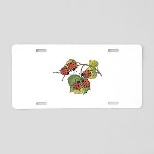 Ladybugs on Leaves Aluminum License Plate