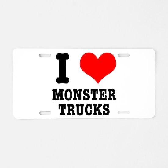 I Heart (Love) Monster Trucks Aluminum License Pla