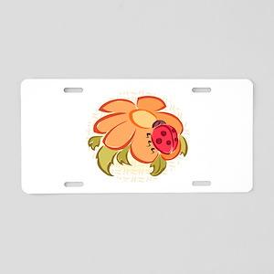 Ladybug and Flower Aluminum License Plate