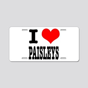 I Heart (Love) Paisleys Aluminum License Plate