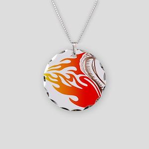 Cobra Flames Tribal Design Necklace Circle Charm