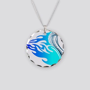 Blue Flames Cobra Tribal Necklace Circle Charm