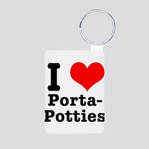 I Heart (Love) Porta Potties Aluminum Photo Keycha