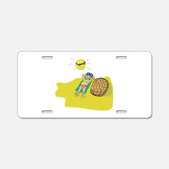Silly Suntanning Turtle Aluminum License Plate