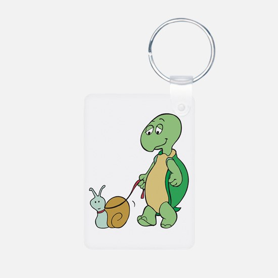 Turtle With Pet Snail Keychains