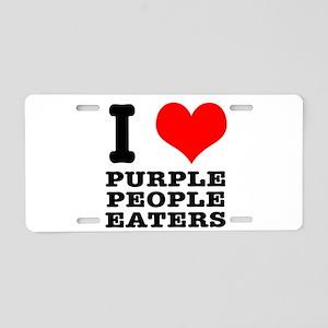 I Heart (Love) Purple People Aluminum License Plat