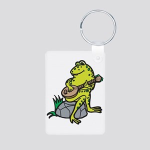 Silly Frog Play Guitar Aluminum Photo Keychain