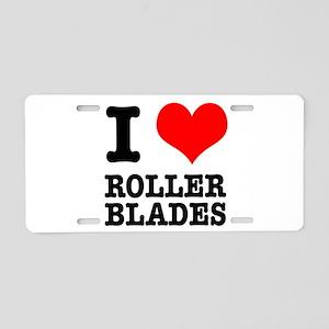 I Heart (Love) Roller Blades Aluminum License Plat