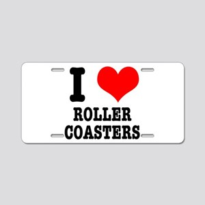 I Heart (Love) Roller Coaster Aluminum License Pla