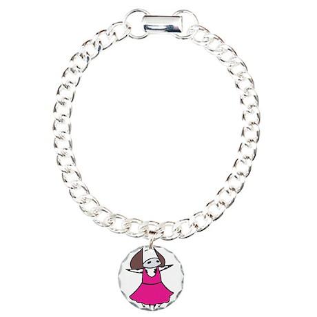 Silly Ballerina Cow Charm Bracelet, One Charm