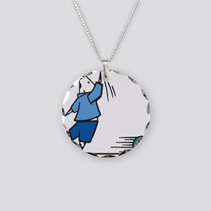 Silly Bowling Cow Necklace Circle Charm