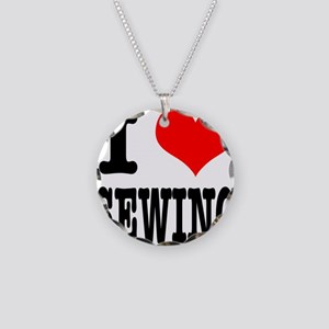 I Heart (Love) Sewing Necklace Circle Charm