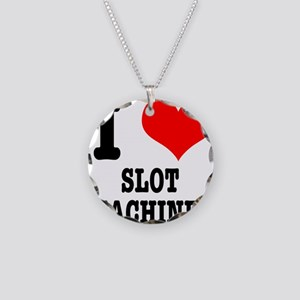 I Heart (Love) Slot Machines Necklace Circle Charm