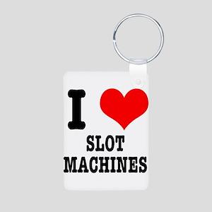 I Heart (Love) Slot Machines Aluminum Photo Keycha