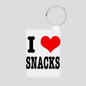 I Heart (Love) Snacks Aluminum Photo Keychain