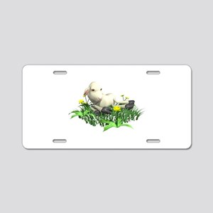 Cute Resting Lamb Aluminum License Plate