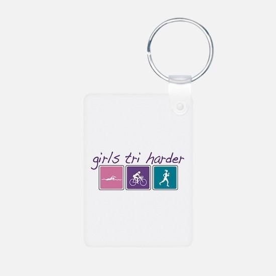 Girls Tri Harder Keychains