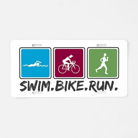 Swim Bike Run Aluminum License Plate