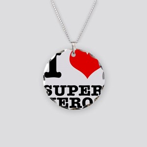 I Heart (Love) Super Heros Necklace Circle Charm