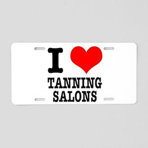 I Heart (Love) Tanning Salons Aluminum License Pla