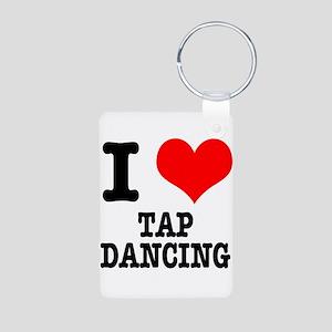 I Heart (Love) Tap Dancing Aluminum Photo Keychain