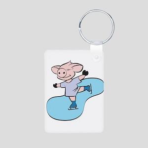 Ice Skating Pig Aluminum Photo Keychain