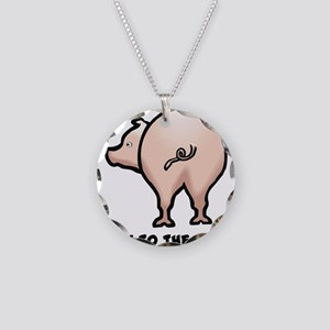 Talk to the Tail Pig Necklace Circle Charm