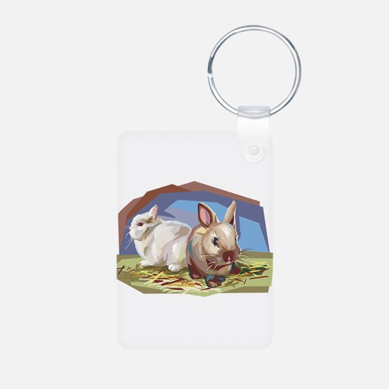 Brown & White Bunnies Keychains