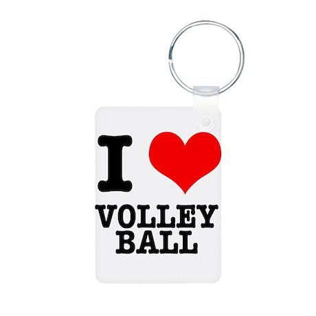 I Heart (Love) Volleyball Aluminum Photo Keychain