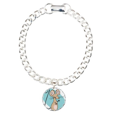Silly Tan Happy Mouse Charm Bracelet, One Charm