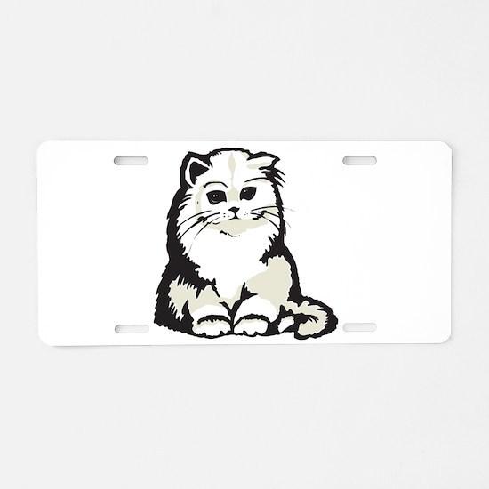 Cute White Persian Kitten Aluminum License Plate