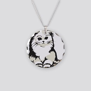 Cute White Persian Kitten Necklace Circle Charm