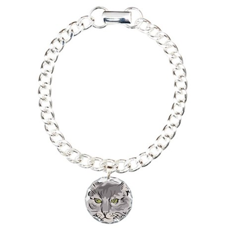 Cute Grey Cat Face Charm Bracelet, One Charm
